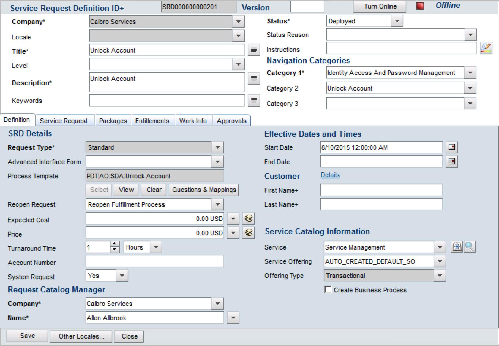 Creating a service request definition in BMC Service Request