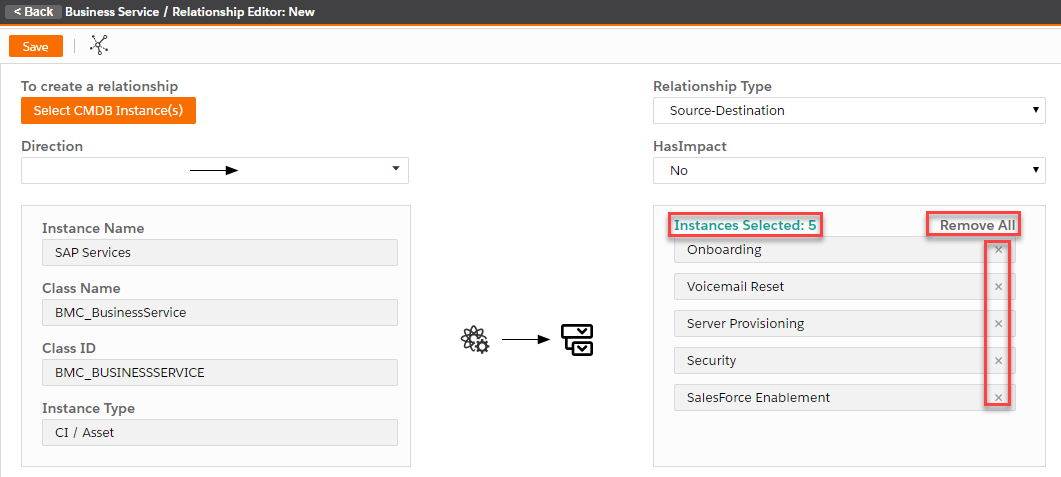 Managing relationships between a configuration item and