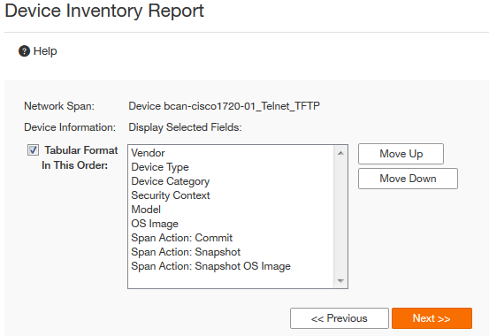 for a tabular report format you can set the order of columns in the report by using the move up and move down options