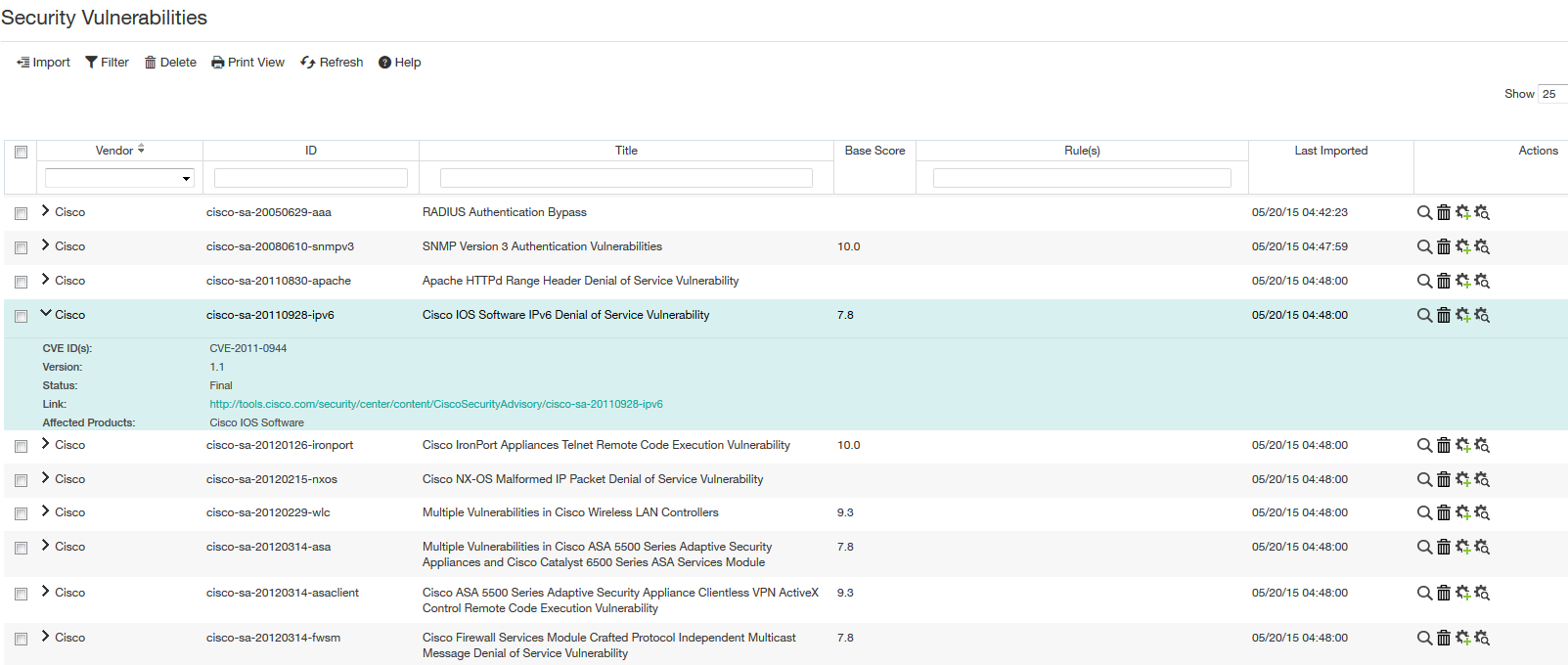 Viewing the security vulnerabilities listing and details