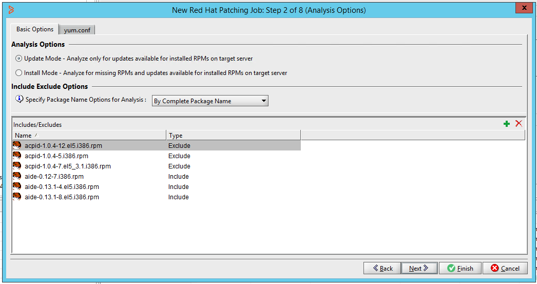 Patching Job - Analysis Options for Red Hat Enterprise Linux