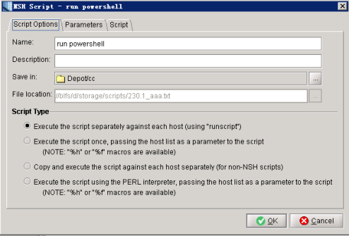 Running Powershell, VBScript, or bat files via NSH