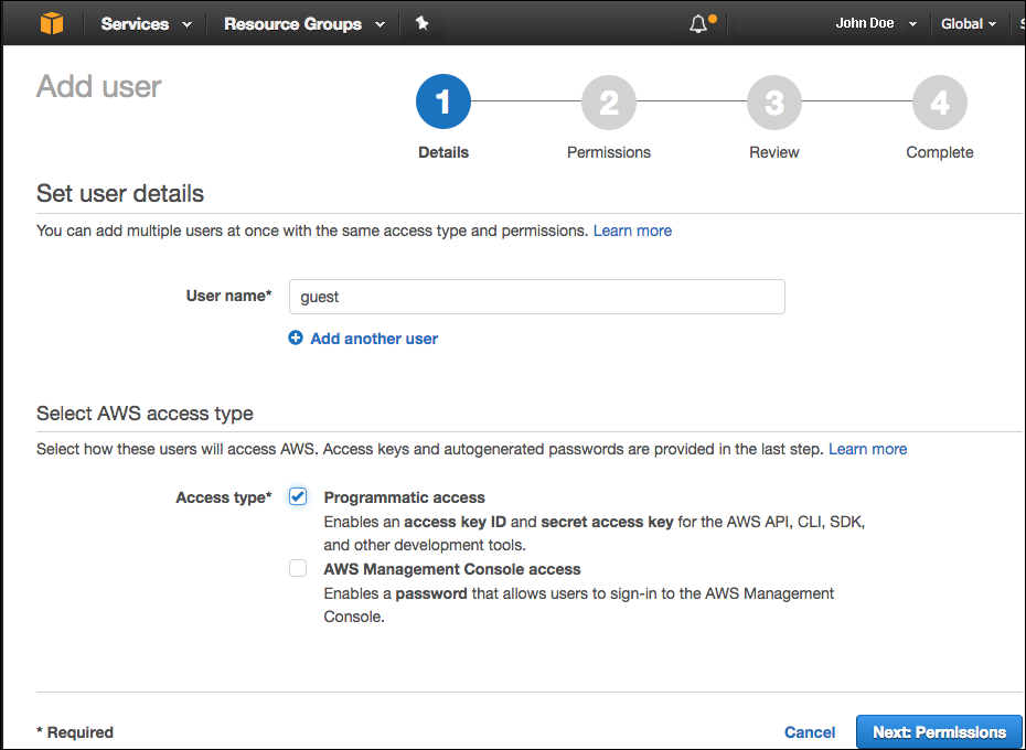 Configuring an AWS IAM account with privileges to access S3