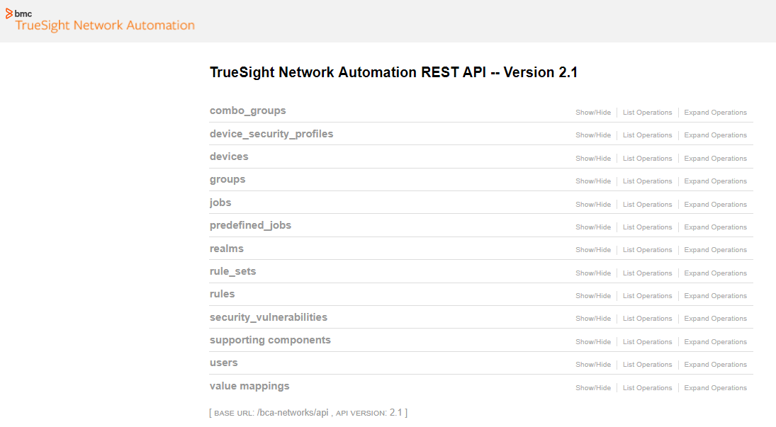 Using the REST API - Documentation for TrueSight Network