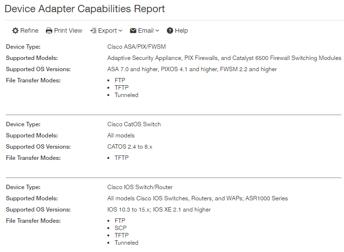 Viewing a Device Adapter Capabilities report - Documentation