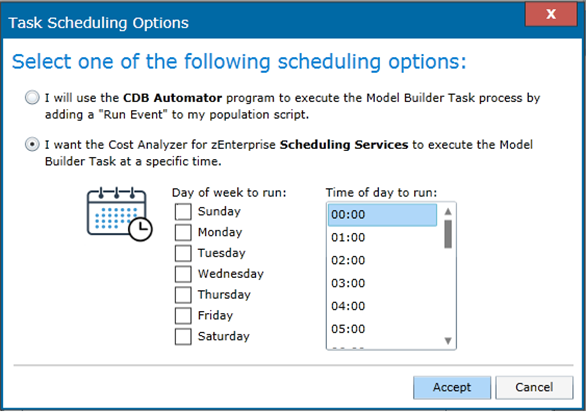 Using Cost Analyzer Scheduling Services to run a Model