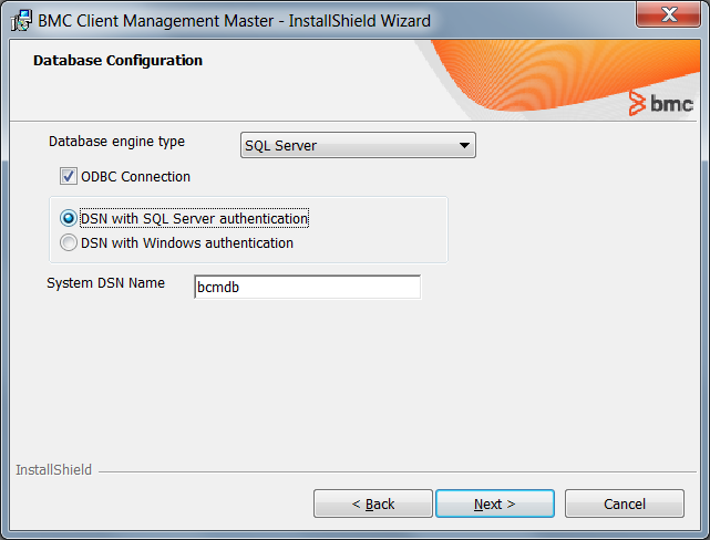 Installing the master with an SQL Server database and ODBC