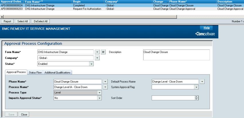 Configuring change management integration documentation for bmc.