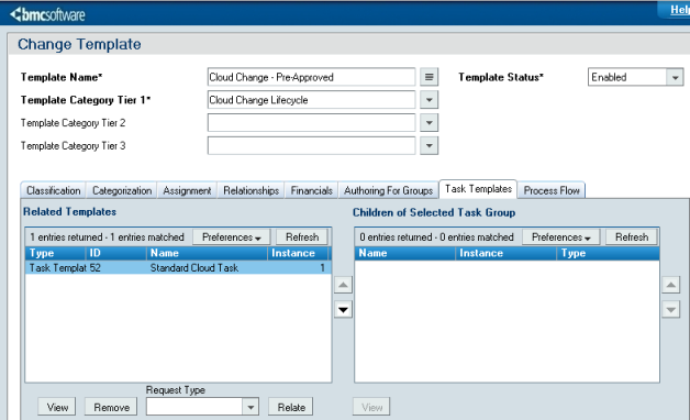 Configuring change management integration bmc cloud lifecycle for approval required and pre authorized change temples click the task templates to verify that the standard cloud task template is assigned under related pronofoot35fo Choice Image