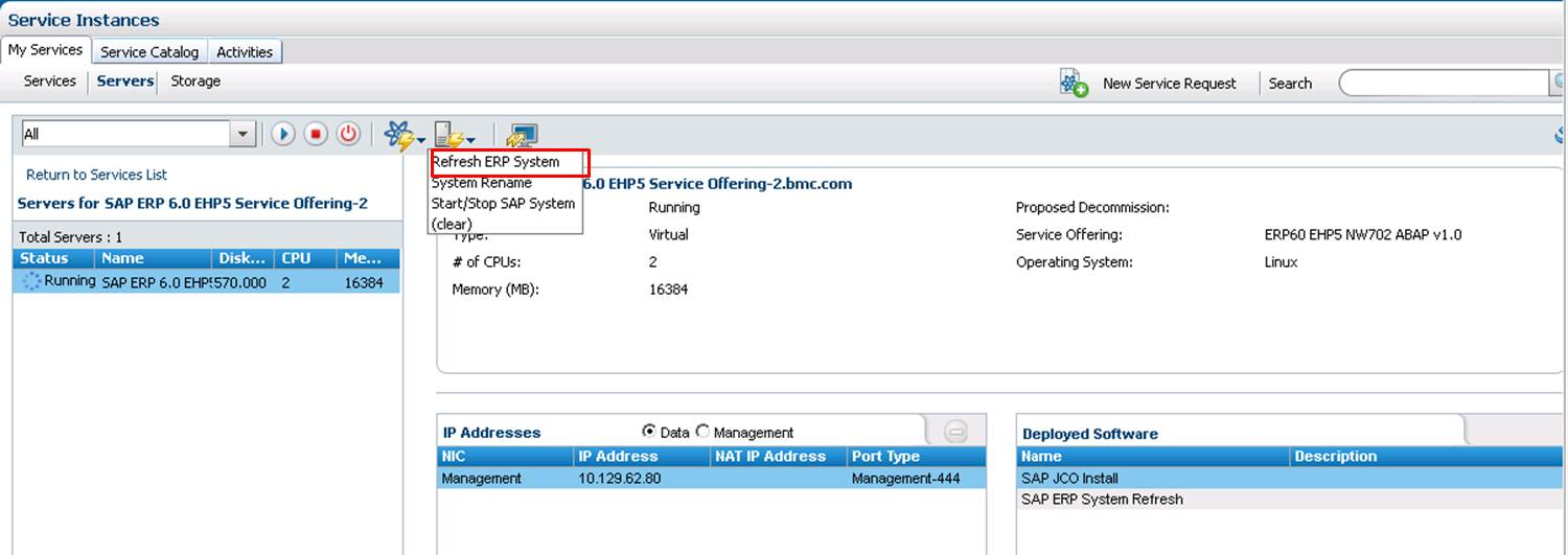 Refreshing an SAP system for ERP 6 0 - Documentation for BMC Cloud