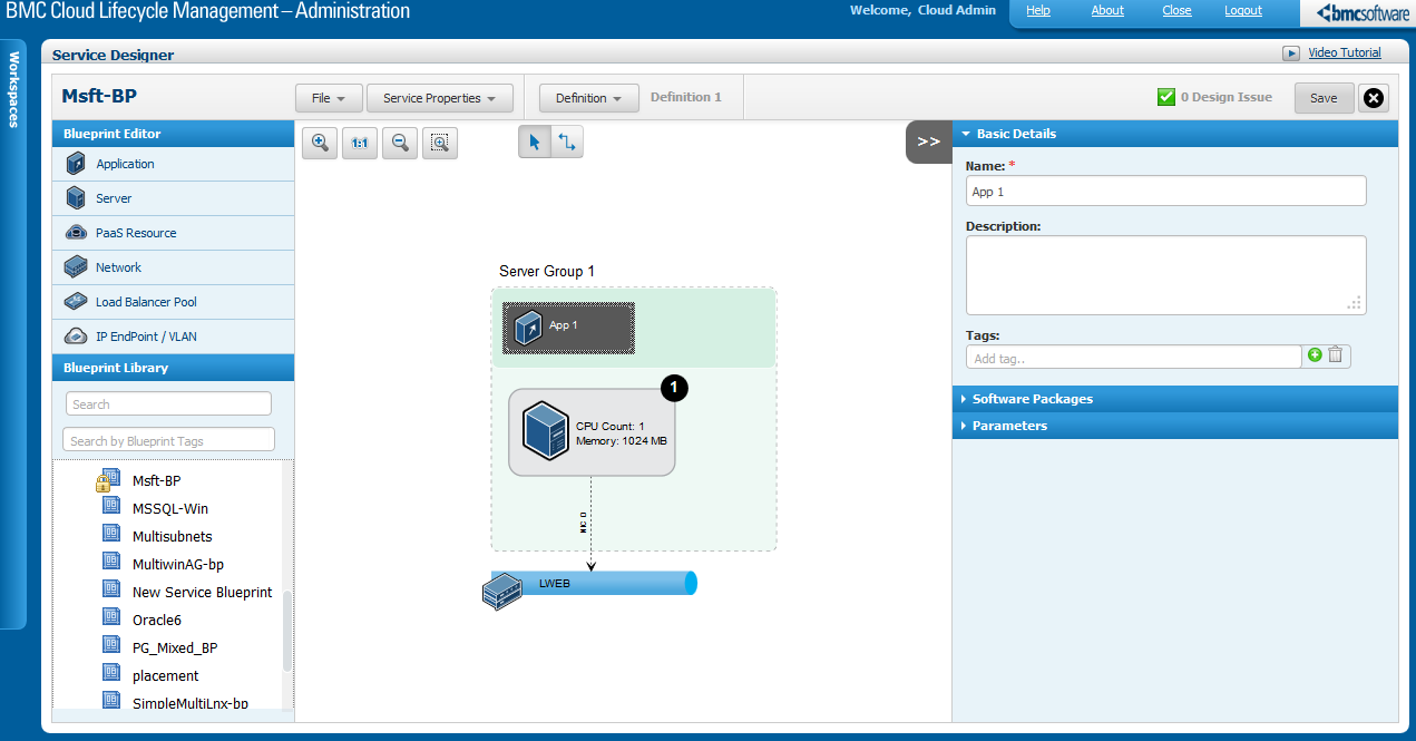 Installing software as part of an ibm softlayer service offering in the application tab of the blueprint editor select an application component the basic details are as shown in the figure below malvernweather Image collections