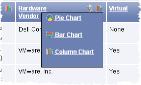 This screen illustrates a screen where you can select chart types.