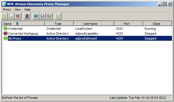 Tha main Windows proxy manager showing a credential and an Active Directory proxy.
