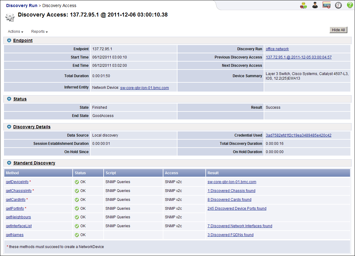 This screen illustrates the DiscoveryAccess page for 8.3 SP1  and shows the discovery methods used to discover an SNMP device.