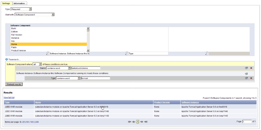 This screen illustrates how to start building a query to help BMC Atrium Discovery find the functional components.