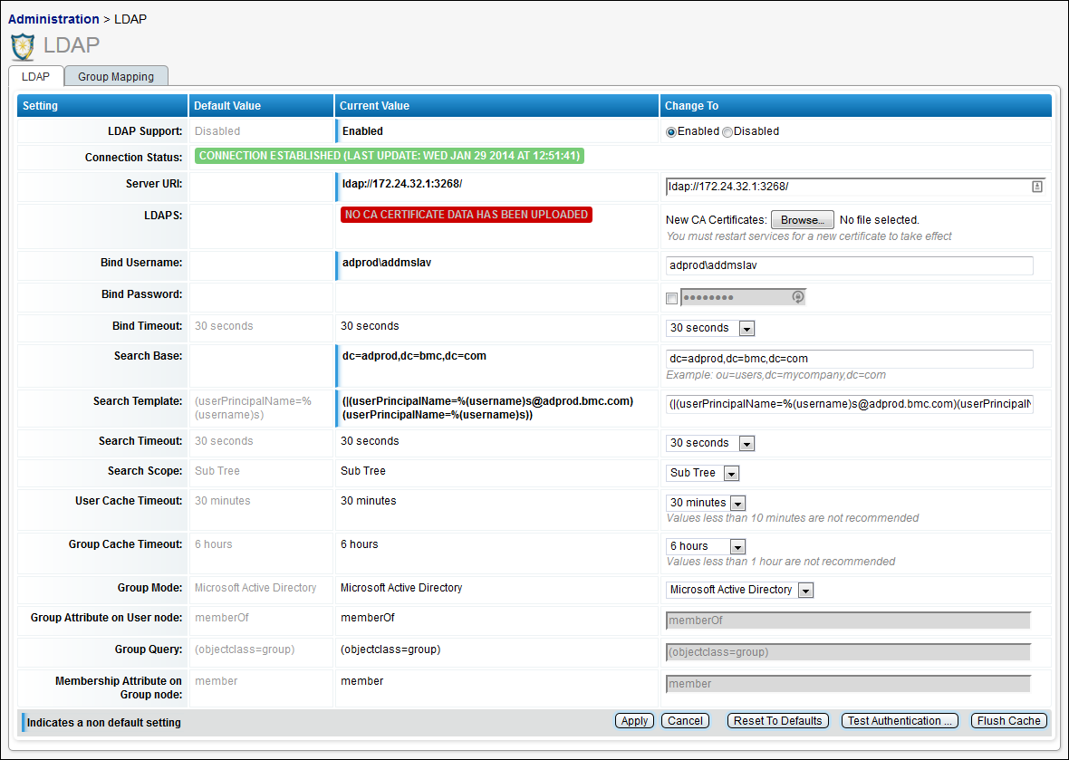 This graphic shows the main LDAP configuration screen.