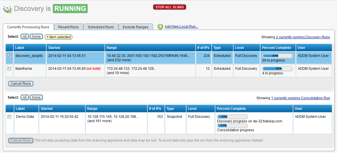 This screen illustrates the discovery status page for a consolidator.