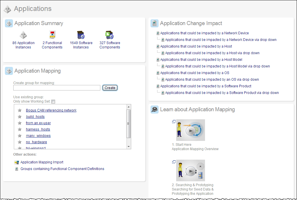 This screen illustrates the summary information for business application items on the Applications page.