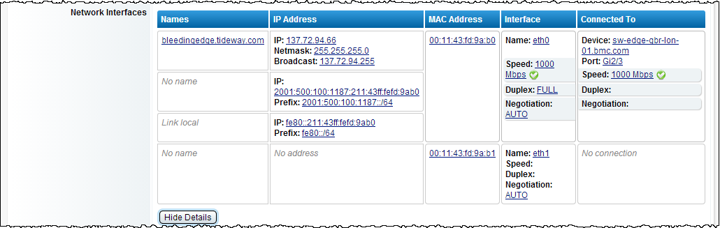 This screen shows the same network interfaces field where Show Details has been clicked to show more information on the interfaces and reveal the reason for the highlighted mismatch.