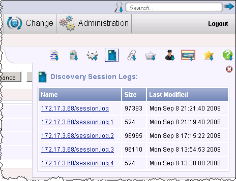 This screen illustrates the Session Logs for hosts.