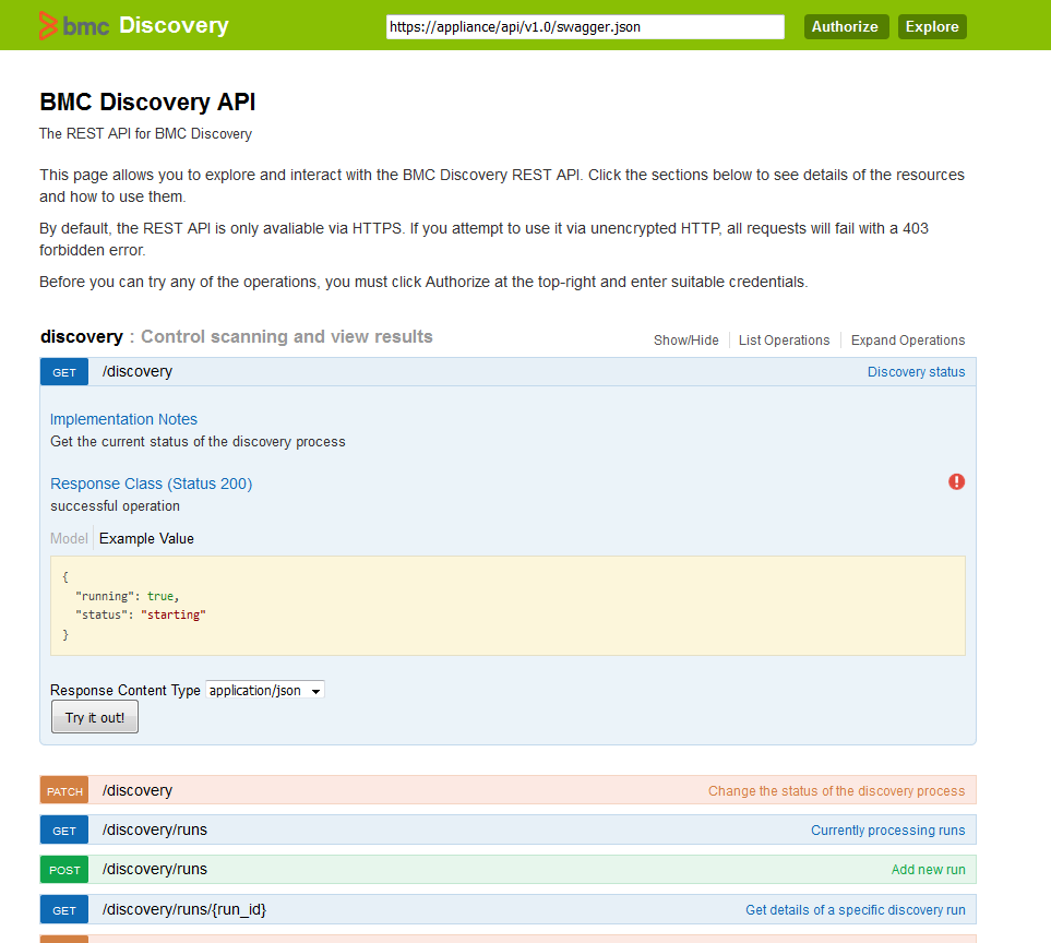 Swagger and the REST API - Documentation for BMC Discovery
