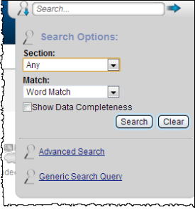 This screen illustrates the Search dialog and options for refining a search.