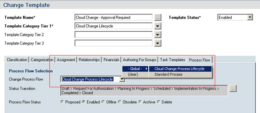 you can then attach this flow to your change request template for example clm change template as shown in the following image