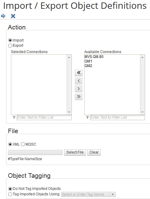 Managing the import and export of connection objects