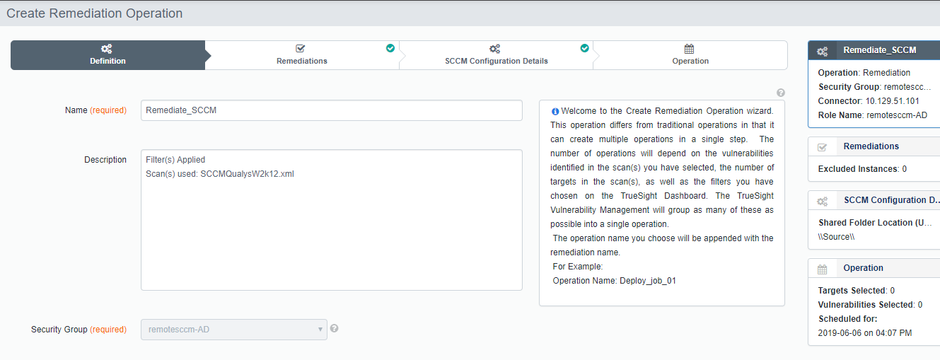 Creating a Remediation operation for SCCM - Documentation for